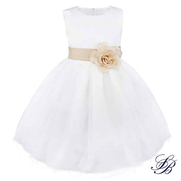 Robe Blanche de Communion à Fleurs pour Fille Fille Enfant Soirée Blanche