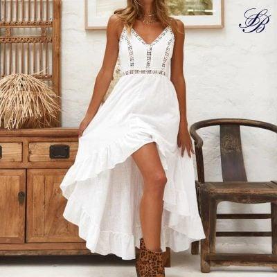 Robe Blanche Bohème Courte Devant et Longue Derrière Robe Blanche Bohème Femme Robe Blanche Soirée Blanche