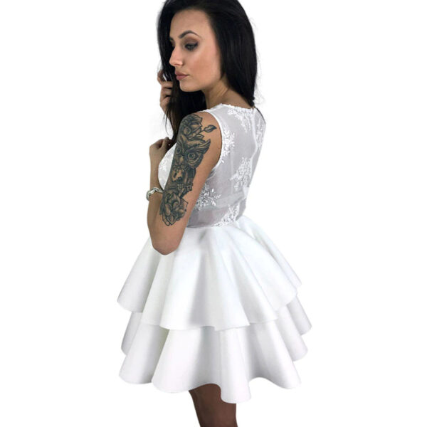 Robe Blanche Patineuse Courte et Fluide Robe Blanche Courte Femme Robe Blanche Soirée Blanche