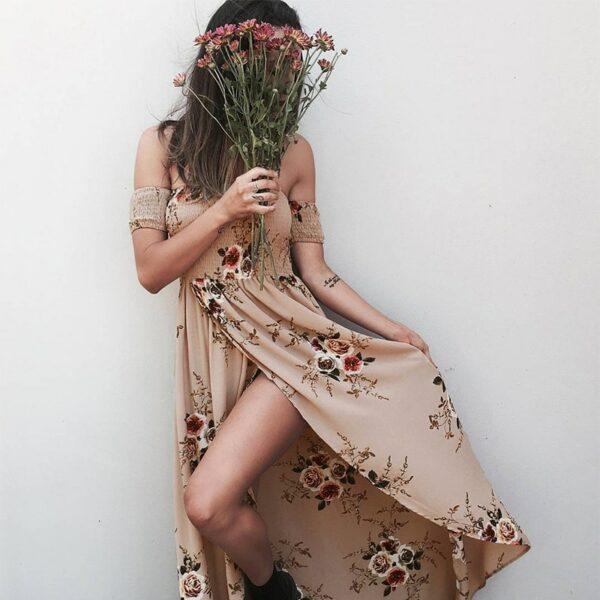 Robe Blanche Bohème Longue Fleurie Robe Blanche Bohème Femme Robe Blanche Soirée Blanche