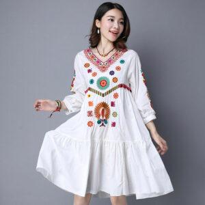 Robe Blanche Hippie à Fleurs Robe Blanche Bohème Femme Robe Blanche Soirée Blanche
