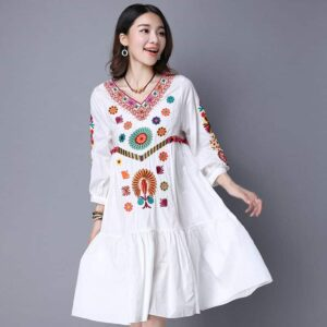 Robe Blanche Hippie à Fleurs Femme Robe Blanche Robe Blanche Bohème a7796c561c033735a2eb6c: Blanc Soirée Blanche