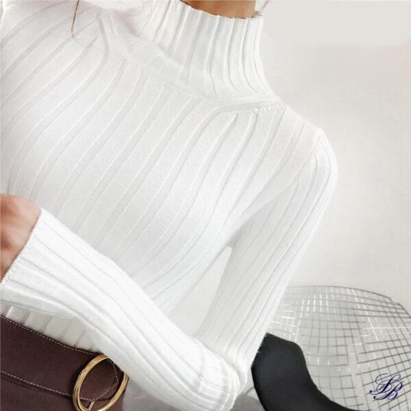 Suprême Pull Blanc à Col Roulé Pull Blanc Femme Haut Blanc Soirée Blanche