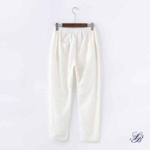 Pantalon Blanc Femme en Lin Pantalon Blanc Femme Bas Blanc Soirée Blanche