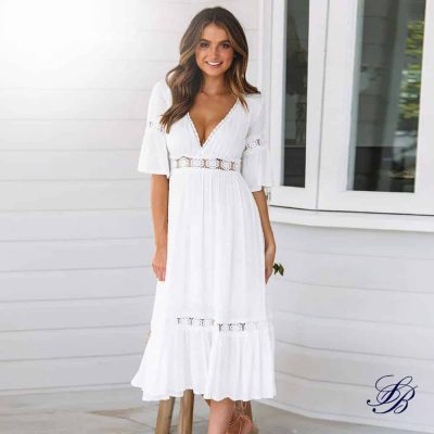 Robe Blanche Bohème Mi Longue Robe Blanche Bohème Femme Robe Blanche Soirée Blanche