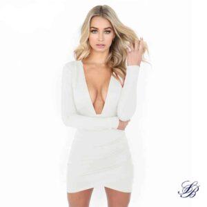 Robe Blanche Courte Décolleté Profond Robe Blanche Courte Femme Robe Blanche Soirée Blanche