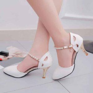 Escarpin Blanc Mariage Chaussures Blanches Femme Soirée Blanche