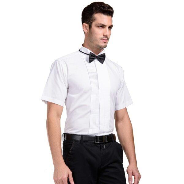 Chemise Blanche Col Cassé Manches Courtes Chemise Blanche Homme Haut Blanc Soirée Blanche