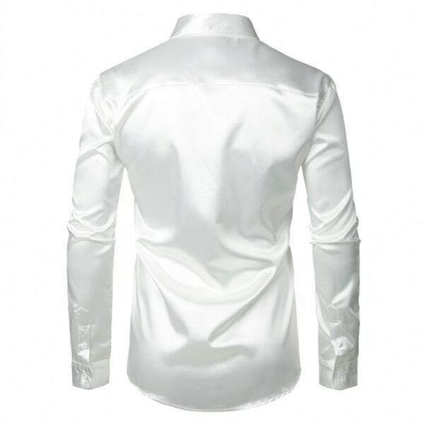 Chemise Blanche Satin Homme Chemise Blanche Homme Haut Blanc Soirée Blanche