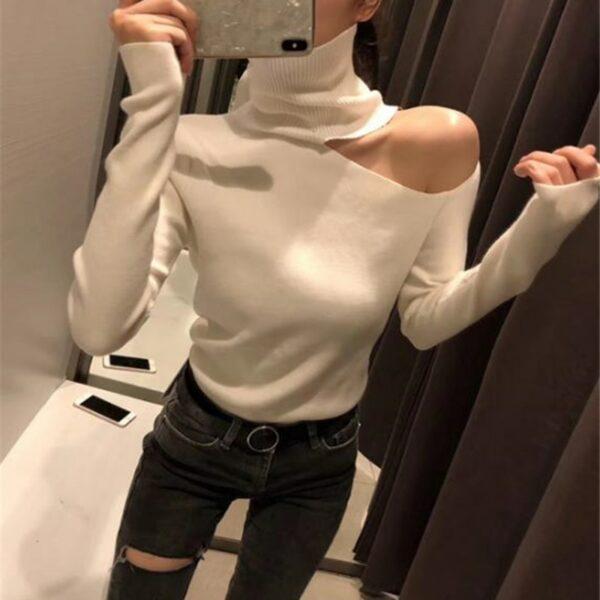 pull blanc femme epaule nue