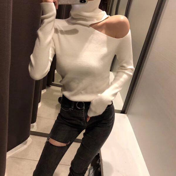 Sous Pull Blanc Col Roulé Epaule Dénudée Femme | Soirée Blanche
