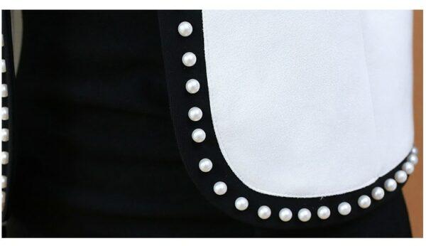 Veste Courte Blanche et Noire Veste Blanche Femme Haut Blanc Soirée Blanche