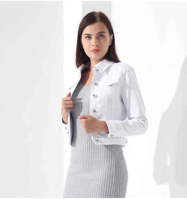 Veste Crop Top Blanc Veste Blanche Femme Haut Blanc Soirée Blanche