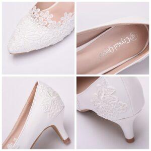 Chaussure Blanche Talon 5 cm à Dentelle Chaussures Blanches Femme Soirée Blanche