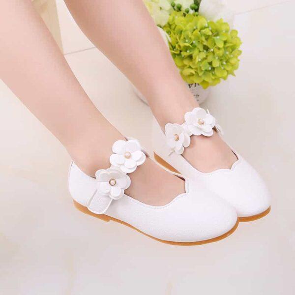 Chaussure Blanche Cérémonie Fille Fille Enfant Soirée Blanche