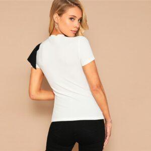 Tee Shirt Blanc Asymétrique Femme Tee Shirt Blanc Femme Haut Blanc Soirée Blanche