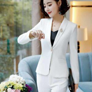 Tailleur Blanc Chic Femme Tailleur Blanc Femme Ensemble Blanc Soirée Blanche