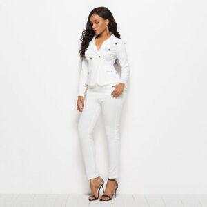 Tailleur Pantalon Blanc Femme Tailleur Blanc Femme Ensemble Blanc Soirée Blanche