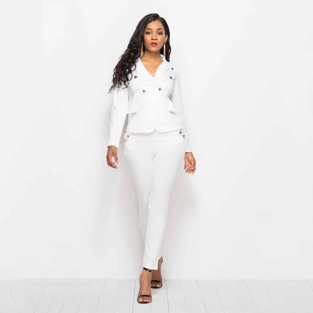 Tailleur Pantalon Blanc Femme | Soirée Blanche