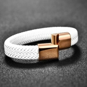 Bracelet en Cuir Blanc Bijou Blanc Accessoires Blancs Soirée Blanche