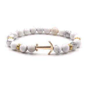 Bracelet Blanc Ancre Marine Bijou Blanc Accessoires Blancs Soirée Blanche