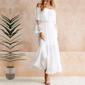 Robe Blanche Bohème Longue Robe Blanche Bohème Femme Robe Blanche Robe Blanche Longue Soirée Blanche
