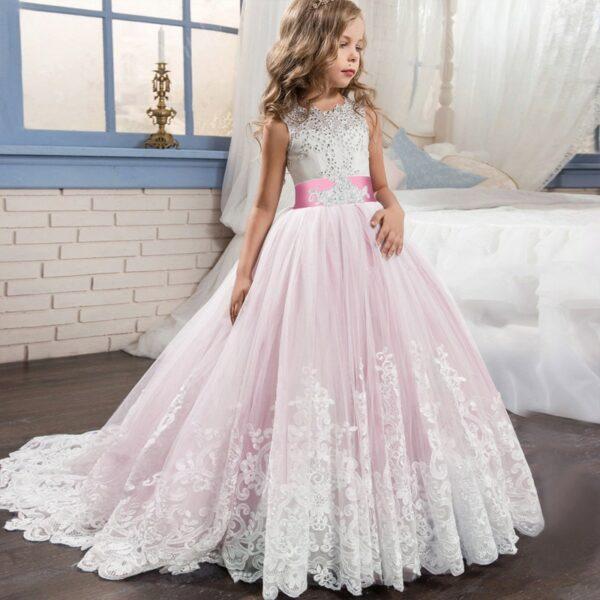Robe Blanche Petite Fille D'Honneur Fille Enfant Soirée Blanche