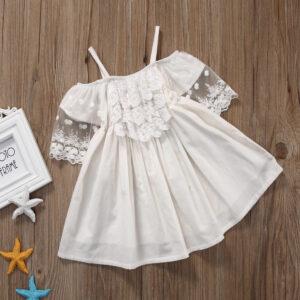 Robe Blanche de Petite Fille pour Communion Fille Enfant Soirée Blanche
