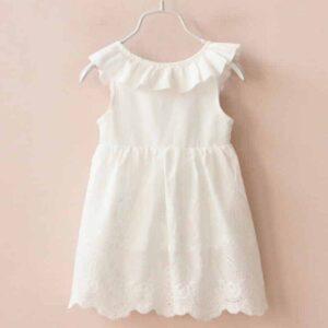 Robe Blanche de Petite Fille d'Honneur Fille Enfant Soirée Blanche