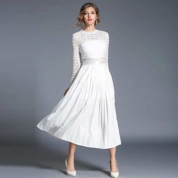 Robe Blanche Chic Longue à Dentelle Robe Blanche Longue Femme Robe Blanche Soirée Blanche