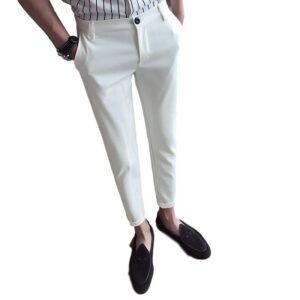 Pantalon Blanc Fluide Court Pantalon Blanc Homme Bas Blanc Soirée Blanche