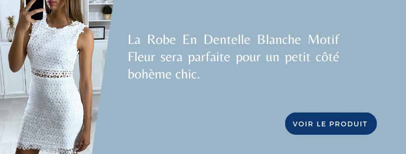 Robe En Dentelle Blanche Motif Fleur | Soirée Blanche