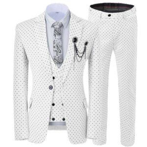 Costume Blanc Homme Vintage 3 Pièces Costume Blanc Homme Soirée Blanche