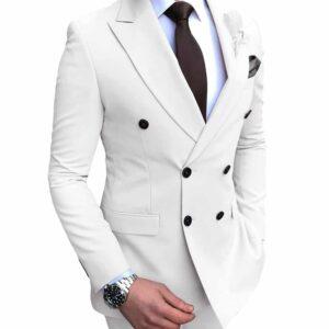 Costume Blanc Croisé Homme 2 Pièces Costume Blanc Homme Soirée Blanche