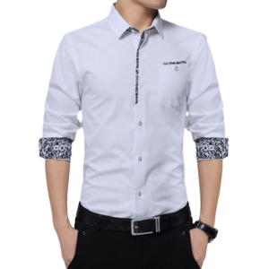 Chemise Blanche Col Fleuri Homme Chemise Blanche