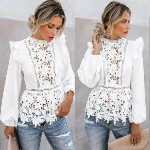 Haut Dentelle Blanc Manche Longue Tee Shirt Blanc Femme Haut Blanc Soirée Blanche