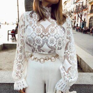 Haut Dentelle Transparent Blanc Tee Shirt Blanc Femme Haut Blanc Soirée Blanche
