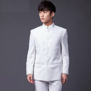 Costume Blanc Col Mao Costume Blanc Homme Soirée Blanche