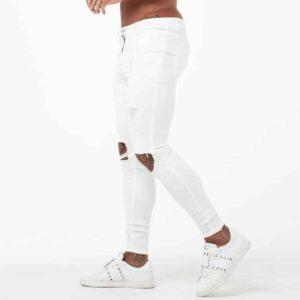 Jean Blanc Slim Troué Pantalon Blanc Homme Bas Blanc Soirée Blanche