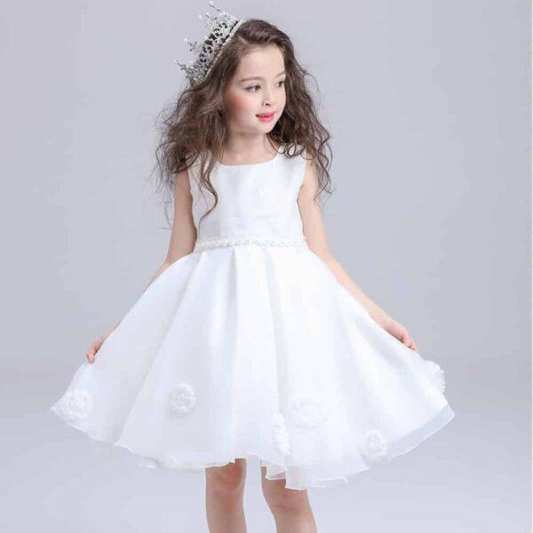 Robe Blanche Cérémonie Fille Fille Enfant Soirée Blanche