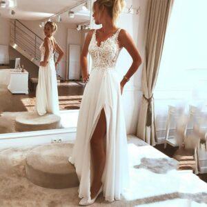 Robe Mariée Fendue Blanche Robe de Mariage Blanche Femme Robe Blanche Soirée Blanche