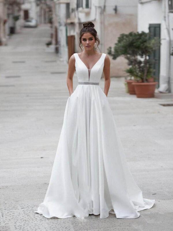Robe de Mariage Blanche Femme Robe Blanche Soirée Blanche
