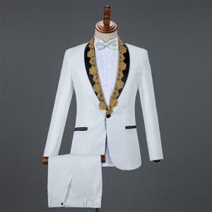 Costume Mariage Blanc Et Or Costume Blanc Homme Soirée Blanche