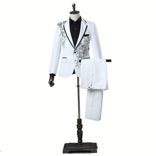 Costume Blanc Avec Broderie Costume Blanc Homme Soirée Blanche