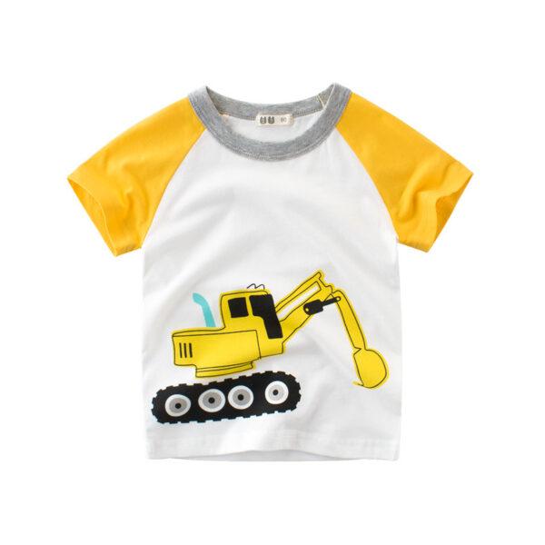 Tee Shirt Blanc Motif Engin Garçon 10 | Soirée Blanche