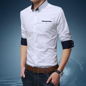Chemise Blanche Motif Bleu Homme 6 | Soirée Blanche