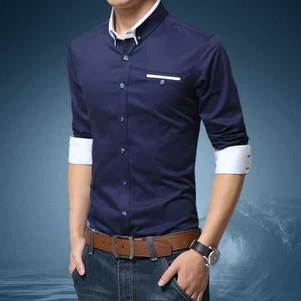 Chemise Blanche Motif Bleu Homme 5 | Soirée Blanche