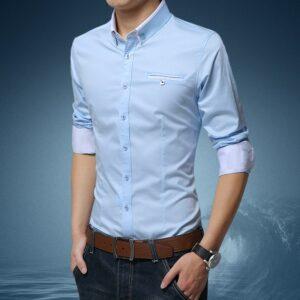 Chemise Blanche Motif Bleu Homme 8 | Soirée Blanche