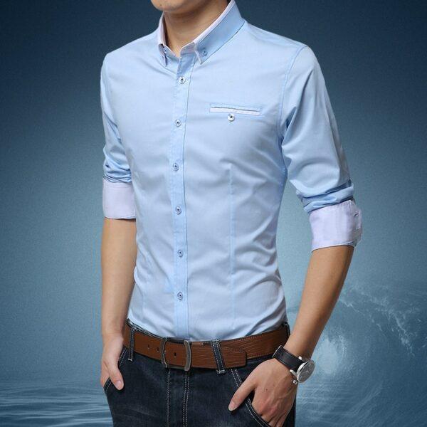Chemise Blanche Motif Bleu Homme 4 | Soirée Blanche