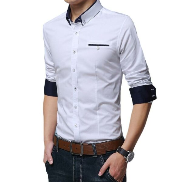 Chemise Blanche Motif Bleu Homme - Soirée Blanche